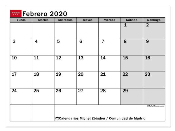 Calendario febrero 2020, con días feriados de la Comunidad de Madrid. Calendario para imprimir gratis con días festivos.
