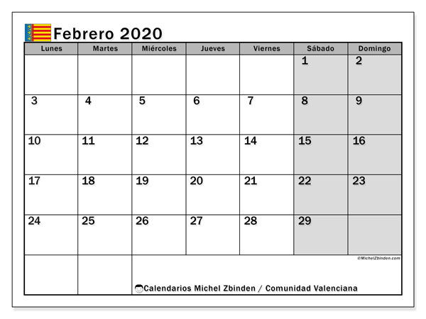 Calendario febrero 2020, con días feriados de la Comunidad Valenciana. Calendario para imprimir gratis con días festivos.