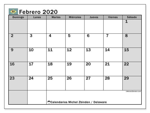 Calendario febrero 2020, con días feriados en Delaware. Calendario para imprimir gratis con días festivos.
