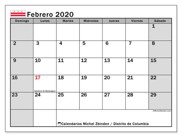 Calendario febrero 2020, con días feriados del Distrito de Columbia. Calendario vacaciones y festivos para imprimir gratis.