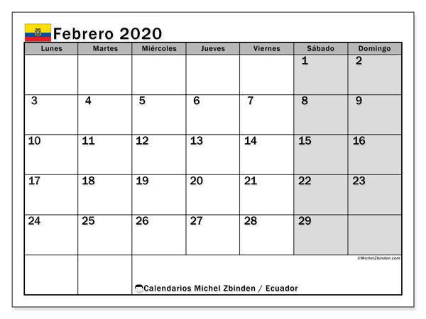 Calendario febrero 2020, con los días feriados para Ecuador. Calendario gratuito para imprimir.