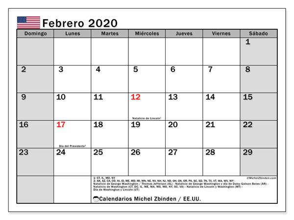 Calendario febrero 2020, con días feriados de EE.UU.. Calendario para imprimir gratis con días festivos.
