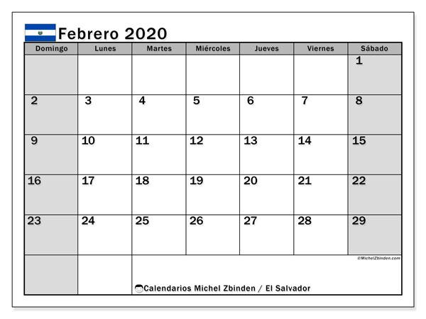 Calendario febrero 2020, con días feriados en El Salvador. Calendario para imprimir gratis con días festivos.