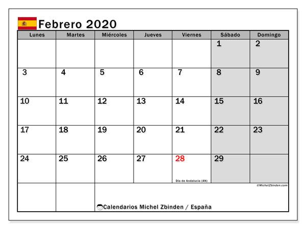Calendario febrero 2020, con días feriados en España. Calendario para imprimir gratis con días festivos.