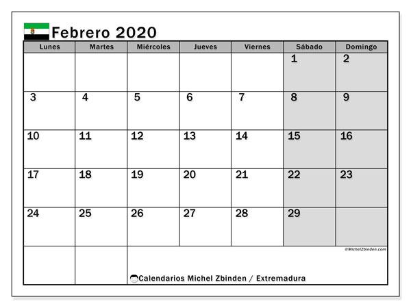 Calendario febrero 2020, con días feriados en Extremadura. Calendario para imprimir gratis con días festivos.