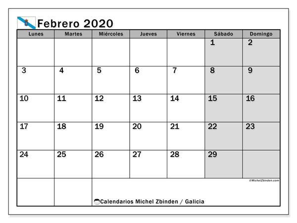 Calendario febrero 2020, con días feriados en Galicia. Calendario vacaciones y festivos para imprimir gratis.