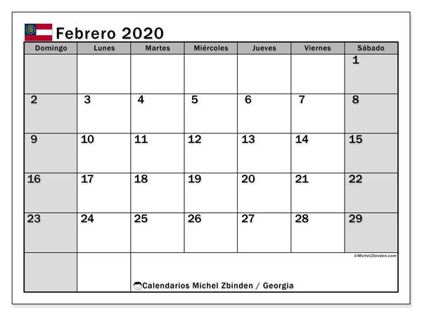 Calendario febrero 2020, con días feriados en Georgia. Calendario vacaciones y festivos para imprimir gratis.