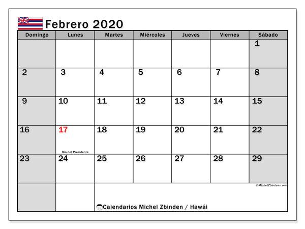 Calendario febrero 2020, con días feriados en Hawái. Calendario para imprimir gratis con días festivos.