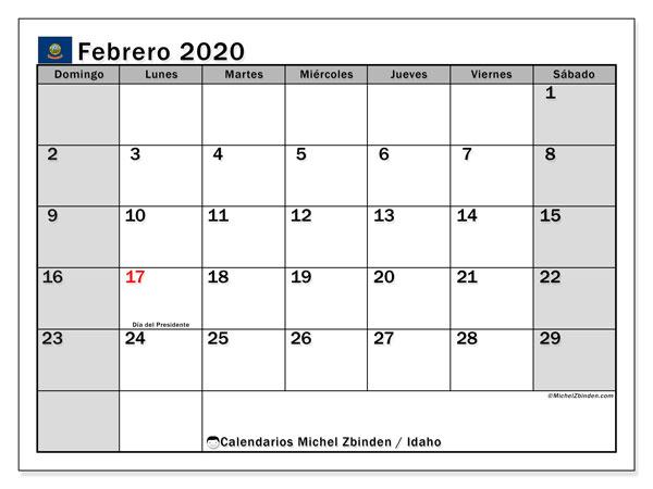 Calendario febrero 2020, con días feriados de Idaho. Calendario vacaciones y festivos para imprimir gratis.