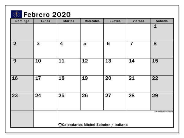 Calendario febrero 2020, con días feriados de Indiana. Calendario para imprimir gratis con días festivos.