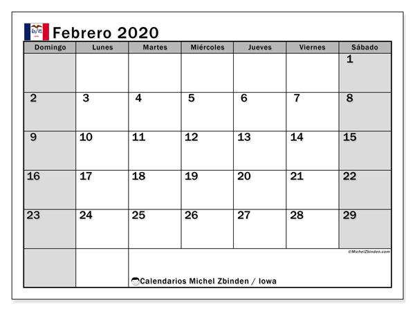 Calendario febrero 2020, con días feriados de Iowa. Calendario para imprimir gratis con días festivos.