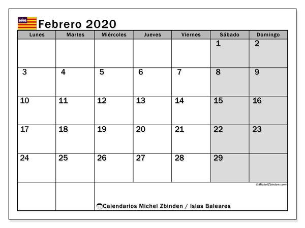 Calendario febrero 2020, con días feriados en las Islas Baleares. Calendario vacaciones y festivos para imprimir gratis.