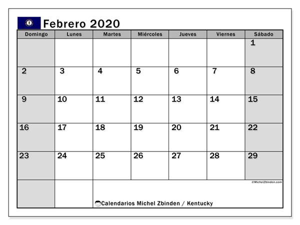 Calendario febrero 2020, con días feriados de Kentucky. Calendario vacaciones y festivos para imprimir gratis.