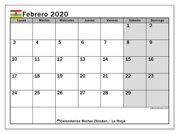 Calendario febrero 2020, con días feriados en La Rioja. Calendario para imprimir gratis con días festivos.