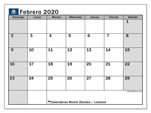 Calendario febrero 2020, con días feriados en Luisiana. Calendario vacaciones y festivos para imprimir gratis.
