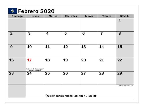 Calendario febrero 2020, con días feriados de Maine. Calendario para imprimir gratis con días festivos.