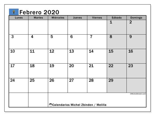 Calendario febrero 2020, con días feriados en Melilla. Calendario para imprimir gratis con días festivos.
