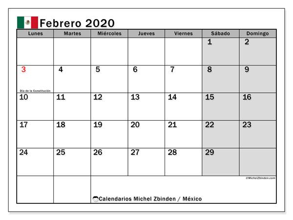Calendario febrero 2020, con días feriados de México. Calendario vacaciones y festivos para imprimir gratis.