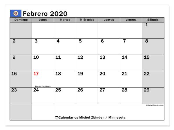 Calendario febrero 2020, con días feriados de Minnesota. Calendario vacaciones y festivos para imprimir gratis.