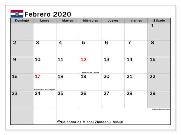 Calendario febrero 2020, con días feriados en Misuri. Calendario para imprimir gratis con días festivos.