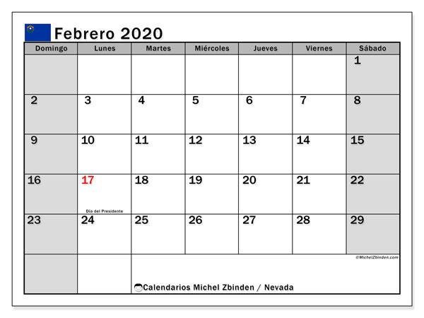 Calendario febrero 2020, con días feriados de Nevada. Calendario vacaciones y festivos para imprimir gratis.