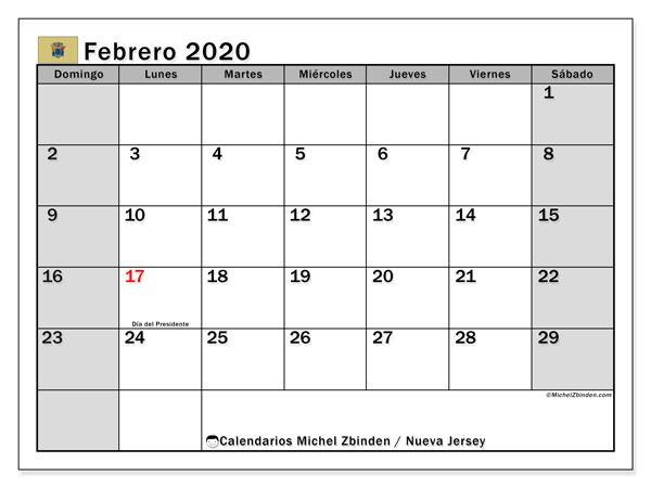 Calendario febrero 2020, con días feriados en Nueva Jersey. Calendario vacaciones y festivos para imprimir gratis.