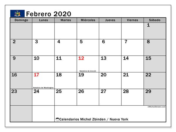 Calendario febrero 2020, con días feriados en Nueva York. Calendario vacaciones y festivos para imprimir gratis.