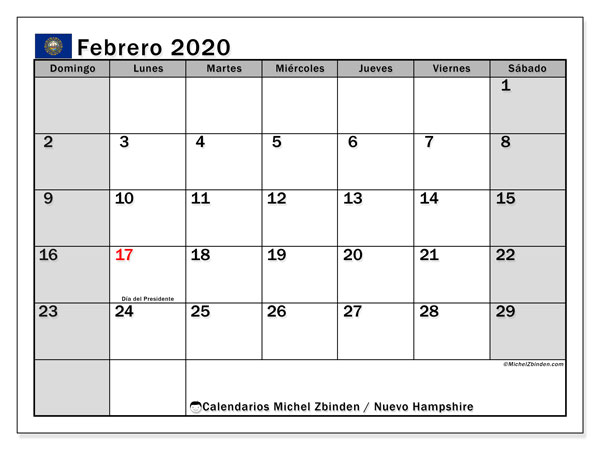 Calendario febrero 2020, con días feriados en Nuevo Hampshire. Calendario para imprimir gratis con días festivos.