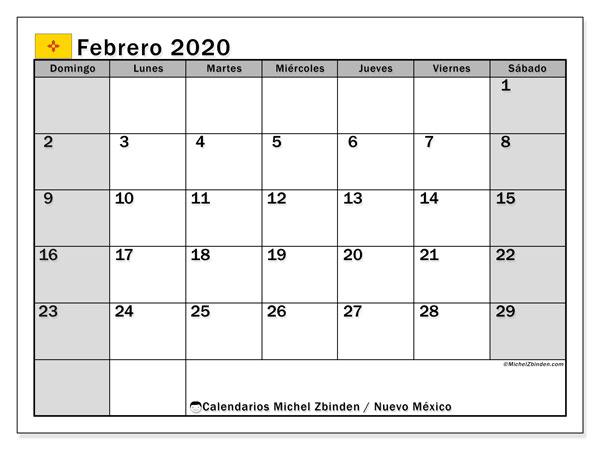 Calendario febrero 2020, con días feriados en Nuevo México. Calendario vacaciones y festivos para imprimir gratis.