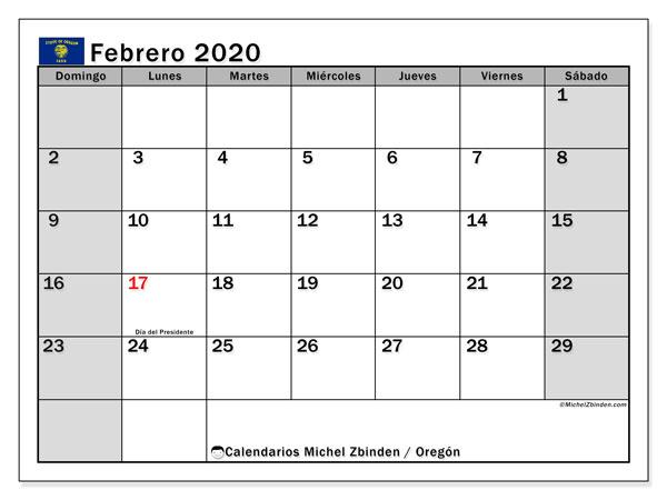 Calendario febrero 2020, con días feriados de Oregón. Calendario vacaciones y festivos para imprimir gratis.