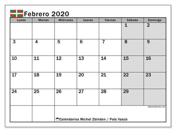 Calendario febrero 2020, con días feriados en el País Vasco. Calendario vacaciones y festivos para imprimir gratis.