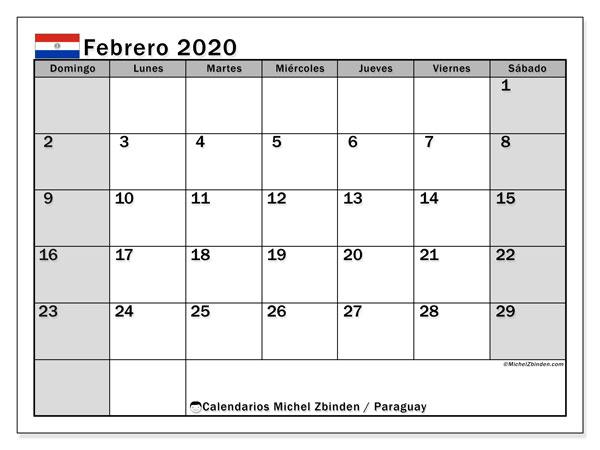 Calendario febrero 2020, con días feriados en Paraguay. Calendario para imprimir gratis con días festivos.