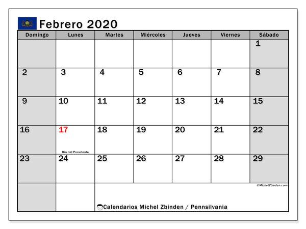 Calendario febrero 2020, con días feriados en Pennsilvania. Calendario vacaciones y festivos para imprimir gratis.