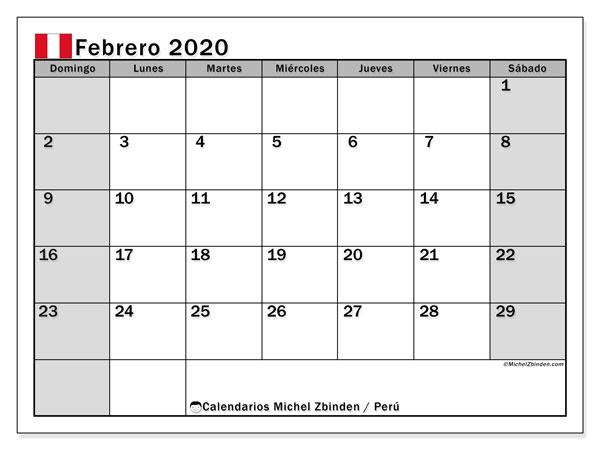 Calendario febrero 2020, con los días feriados para Perú. Calendario para imprimir gratis.
