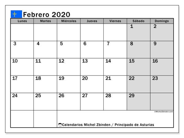 Calendario febrero 2020, con días feriados del Principado de Asturias. Calendario para imprimir gratis con días festivos.