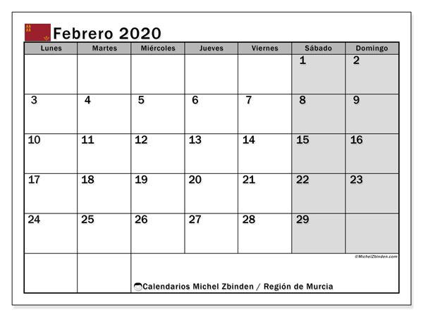 Calendario febrero 2020, con días feriados en la Región de Murcia. Calendario vacaciones y festivos para imprimir gratis.