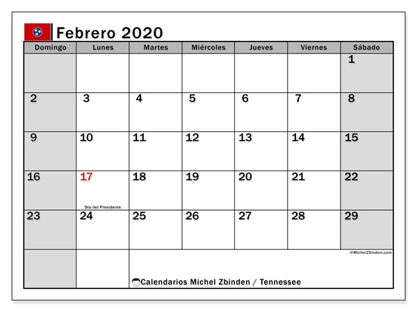 Calendario febrero 2020, con días feriados de Tennessee. Calendario para imprimir gratis con días festivos.