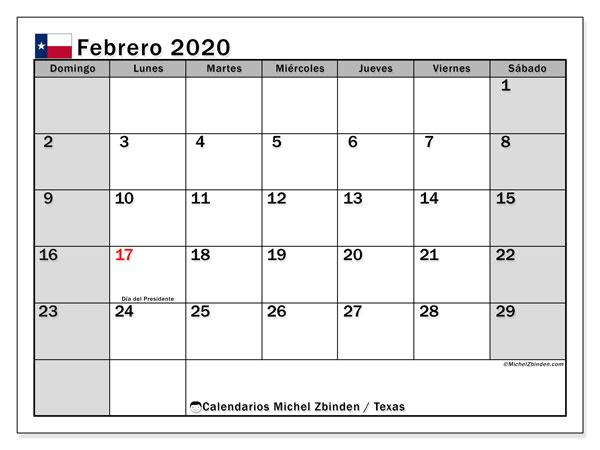Calendario febrero 2020, con días feriados de Texas. Calendario para imprimir gratis con días festivos.