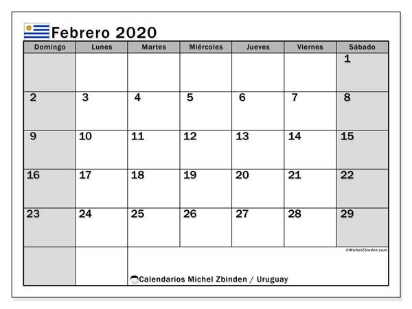 Calendario febrero 2020, con días feriados de Uruguay. Calendario para imprimir gratis con días festivos.