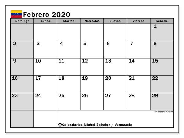 Calendario febrero 2020, con los días feriados para Venezuela. Planificación para imprimir gratis.