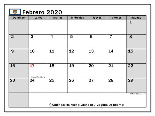 Calendario febrero 2020, con días feriados de Virginia Occidental. Calendario para imprimir gratis con días festivos.