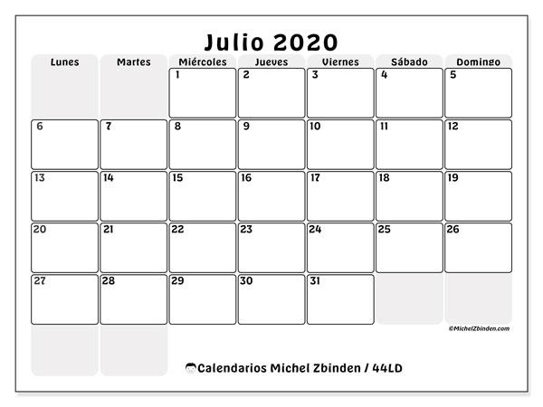 Calendario Junio Julio 2020.Calendarios Julio 2020 Ld Michel Zbinden Es