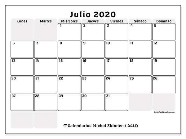 Calendario Julio 2020 Para Imprimir.Calendarios Julio 2020 Ld Michel Zbinden Es