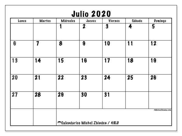 Calendario julio 2020, 48LD. Almanaque para imprimir gratis.