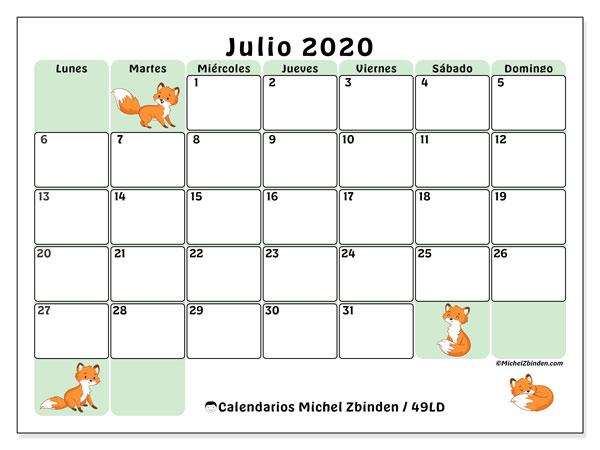 Calendario julio 2020, 49LD. Calendario para imprimir gratis.