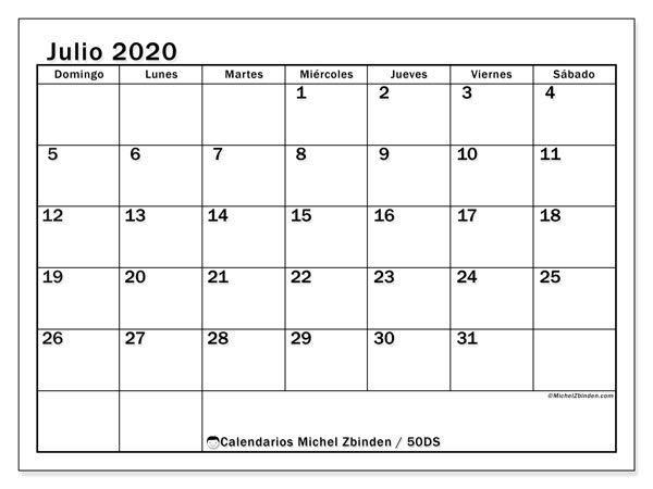 Calendarios julio 2020 - DS, 50