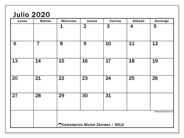 Calendario Chile 2020.Calendario Julio 2020 50ld Michel Zbinden Es