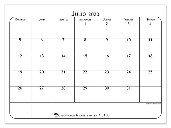 Calendario julio 2020, 51DS. Calendario imprimible gratis.