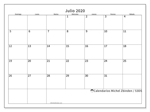 Calendarios julio 2020 - DS, 53