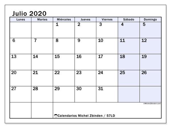 Calendario julio 2020, 57LD. Calendario imprimible gratis.